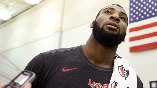 Andre Drummond speaks to members of the media Aug. 19, 2014.