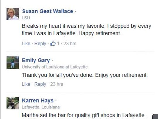 Facebook massages on The Daily Advertiser's page show support and regret over the gift and baby shop closing.