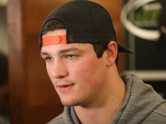 Christian Hackenberg fields questions from members of the press at Atlantic Health Training Center in Florham Park, Monday, January 2, 2016.