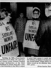 Green Bay Press-Gazette reporters Carolyn Stewart, right, and Sarah Alden protest the NFL's exclusion of women reporters from the sidelines in 1967.