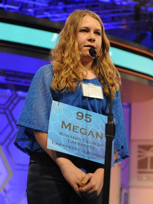 Megan Lavergne correctly spells daffodil in round 2 of the 2015 Scripps National Spelling Bee in National Harbor, Md. on Wednesday, May 27, 2015.  --    Photo by Evan Eile, USA TODAY Staff
