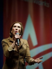 Republican presidential candidate Carly Fiorina speaks during the Rising Tide Summit at The U.S. Cellular Center on Saturday, December 05, 2015 in Cedar Rapids.