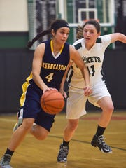 Greencastle's Jenay Faulkner (4) dribbles down the