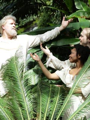 """David Arnold (Father), left, Lauren F. Jones (Eve) and Wesley King (Adam) in """"Children of Eden."""""""