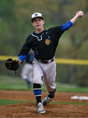 Kyle Hoffman pitches for Waynesboro during a baseball