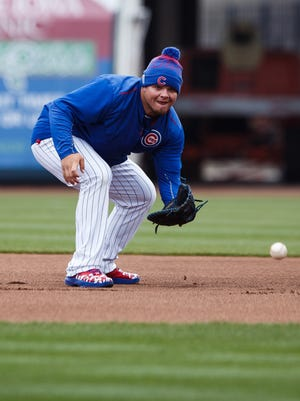 The Iowa Cubs Daniel Vogelbach fields a ground ball during an open workout at Principal Park on Wednesday, April 06, 2016 in Des Moines.