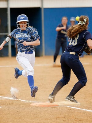 Horseheads' Jenna Richmond races toward first base, beating the throw as Susquehanna Valley's Hannah Haskell makes the catch Tuesday at the Broad Street field in Horseheads.
