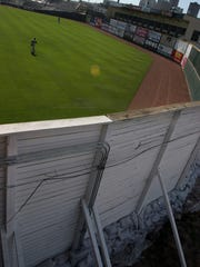Sandbags were put in place at the bottom of the outfield walls at Principal Park in 2008. This photo was taken June 14, 2008, during a game between the Iowa Cubs and the Nashville Sounds, who played in front of no fans because the area had been evacuated.