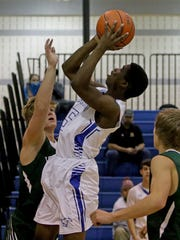 City View's Trey Smith goes for the layup against Iowa