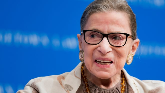 Supreme Court Justice Ruth Bader Ginsburg speaks at Georgetown University Law Center in Washington in this photo from 2015. Ginsburg's public criticism of Donald Trump is dividing legal experts over whether the leader of the court's liberal wing should recuse herself in any future case involving him.