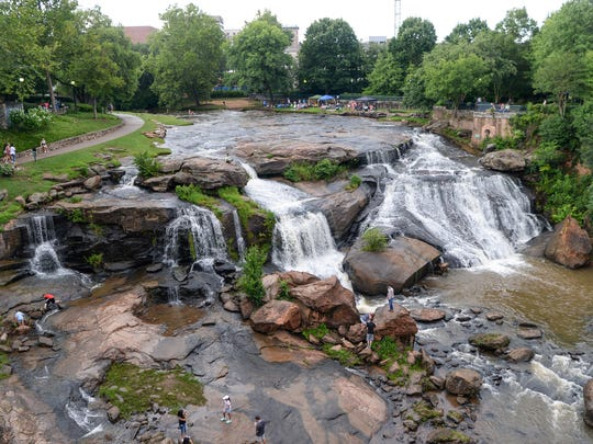 Reedy River falls during Red, White and Blue Festival