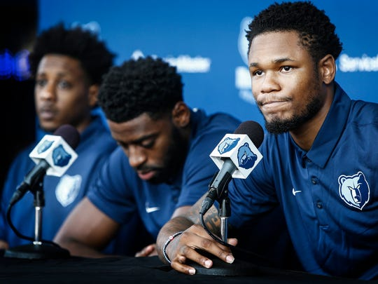 Newest Memphis Grizzlies players Ben McLemore (right) speaks the to the media along with new teammates Tyreke Evans (middle) and Mario Chalmers (left) during a player introduction press conference at the FedExForum, Tuesday afternoon.
