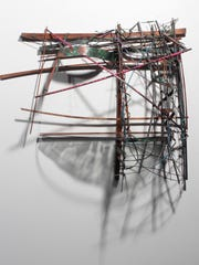"""Hurricane Shelter #2"" - wood, wire, graphite, and copper - by artist Greg Saunders.  (Photo courtesy of Greg Saunders)"