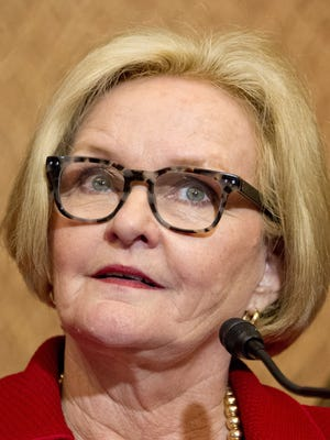 Sen. Claire McCaskill (D-Mo.) at a news conference in Washington, D.C., on April 26, 2016. McCaskill requested an investigation into the Federal Communications Commission's Lifeline program, finding one in three people enrolled in the government-subsidized phone program might not qualify for the service. (Ron Sachs/CNP/Sipa USA/TNS)