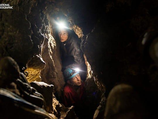 Lee Berger's daughter, Megan, and underground exploration