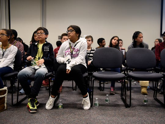The numbers of contestants dwindle down in the third round of the 80th annual North Jersey Spelling Bee at Bergen Community College on Tuesday, March 28, 2017.