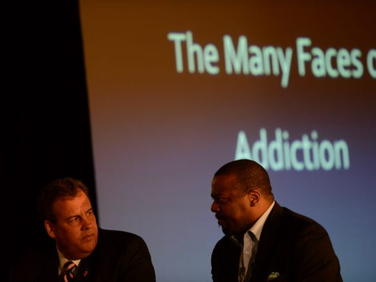 Gov. Chris Christie (left) and Pastor Joe A. Carter host a summit on the Stigma of Drug Addiction at New Hope Baptist Church Sept. 30, 2014. The event was called The Many Faces of Addiction: Ending The Stigma.
