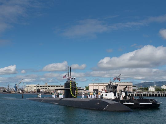 The Los Angeles-class fast-attack submarine USS Bremerton (SSN 698) returns to Joint Base Pearl Harbor-Hickam following a six-month Western Pacific deployment on April 6.