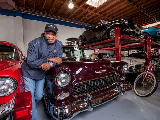 Reggie Jackson in his garage in Seaside, Calif.
