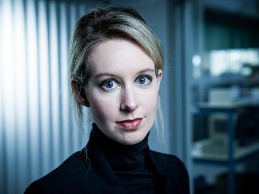 Elizabeth Holmes at Theranos headquarters in Palo Alto,