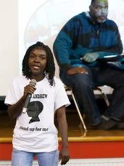 Toyetta Simpson, mother of Andrew Faust Jr., speaks