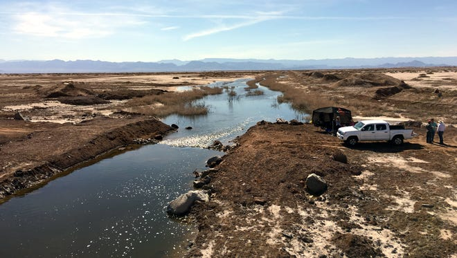 This canal carries water from the Sea of Cortez to a lake basin called the Laguna Salada near Mexicali, Mexico. A new plan wants to import this water to the Salton Sea.