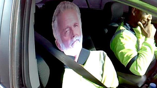 Driver tries to use carpool lane with 'Dos Equis' guy