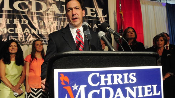 Sen. Chris McDaniel addresses supporters Tuesday at the Lake Terrace Convention Center after losing the Republication U.S. Senate nomination to incumbent Thad Cochran.