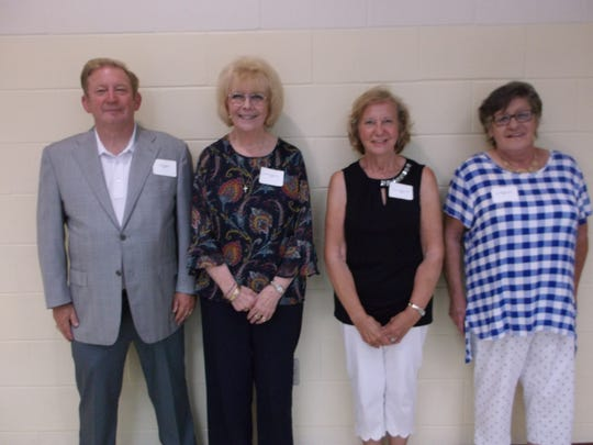 Buckskin High School held its 102nd Annual Alumni Banquet recently. Officers for this year's banquet were (from left to right) President - Joe B. Stewart, M'75, Vice President - Beverly Johnson Mayo, M'69, Secretary - Carolyn Shumaker Owens, M'67, Treasurer - Joyce Mick Cropper, M'70.