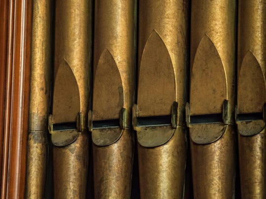 Organ pipes are seen in the sanctuary of the Reid Memorial Presbyterian Church, 1004 N. A St., Richmond, on Wednesday, Nov. 29, 2017.