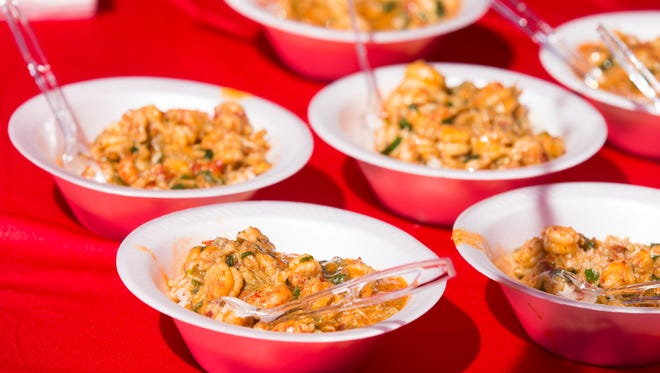 Crawfish etoufee is served during the 31st Annual World Championship Crawfish Etouffee Cookoff in Eunice March 20, 2016.