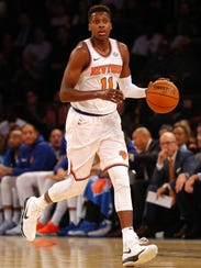 New York Knicks point guard Frank Ntilikina (11) in