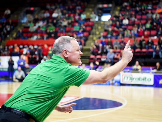 Seton Catholic Central coach Chris Sinicki during Seton Catholic Central vs. Health Sciences Charter, Class B, 2018 NYSPHSAA Boys Basketball Championships, Floyd L. Maines Veterans Memorial Arena, Binghamton, March 16, 2018.