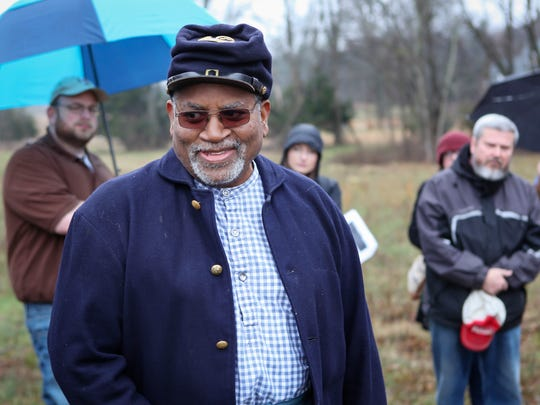 Dr. George Smith of Murfreesboro portrays former slave Sanders Malone, who was part of the U.S. Colored Troops. Smith participated in a Hallowed Ground tour spotlighting the Cemetery Community that was established by freed slaves.