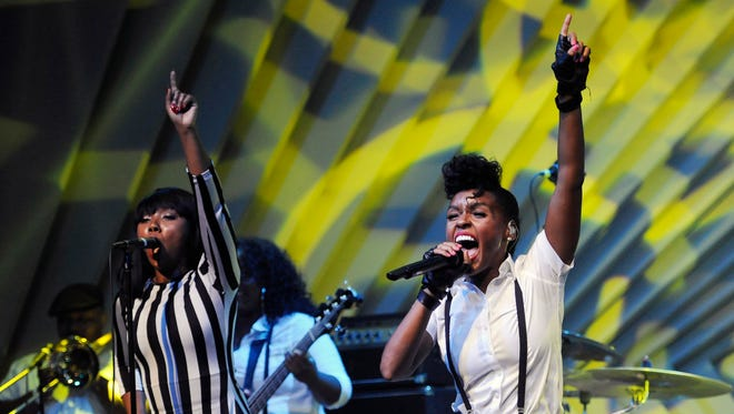 Janelle Monae performs during a launch party for the Audi M3 on Thursday, April 3, 2014, in West Hollywood, Calif.