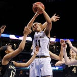 Notre Dame forward Brianna Turner (11) struggles for possession of the ball against Baylor during the second half of a regional final in the NCAA women's college basketball tournament on Sunday in Oklahoma City.