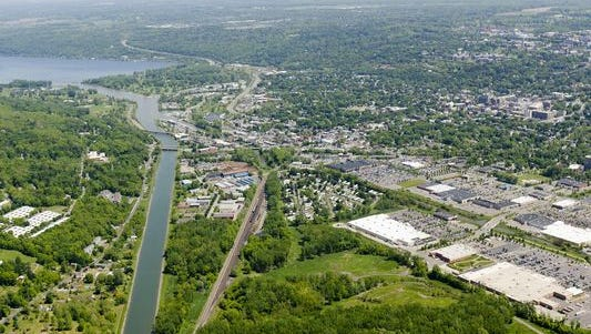 The City of Ithaca and its Flood Control Chanel, which leads to Cayuga Lake.