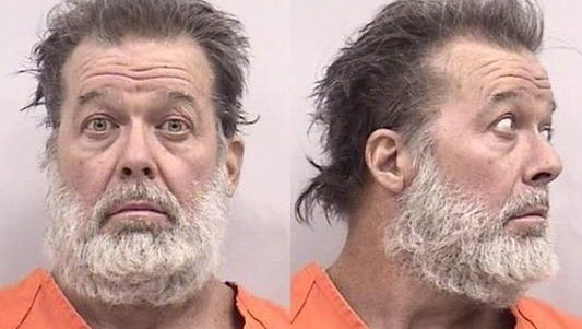 Robert Dear is shown in a booking photo after his arrest as a suspect in the shooting spree at the Colorado Springs Planned Parenthood clinic on Nov. 27, 2015, that left three people dead.