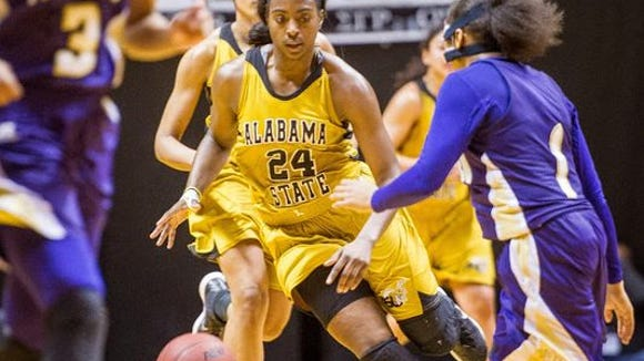Britney Wright will try to lead Alabama State past Texas Southern on ESPNU Monday.