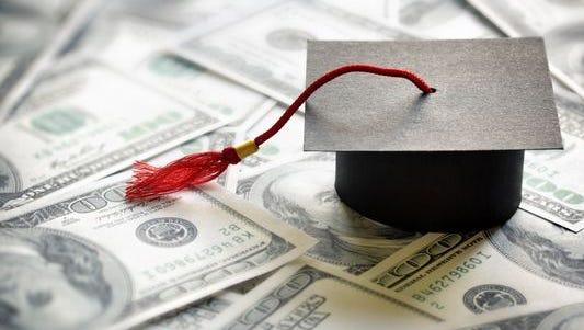 Graduation cap and cash.