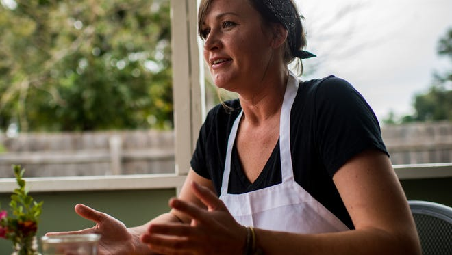 Ashley Roussel, executive chef of the Saint Street Inn, speaks about the new fall menu at the restaurant in Lafayette, La., Friday, Oct. 30, 2015.