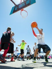 Basketball players of all ages gather at the Field