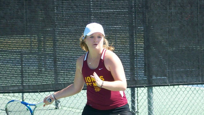 JCJC's Claire Rounsaville hits a shot during the NJCAA Division I National Tournament in Tucson, Arizona.
