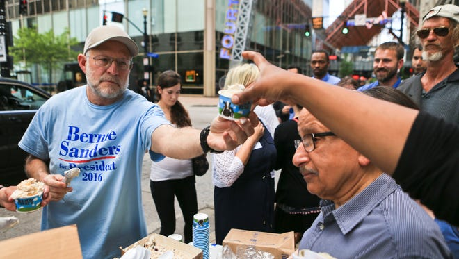 Ben & Jerry's co-founder Jerry Greenfield helped pass out free ice cream Wednesday afternoon at the corner of 4th Street and Muhammad Ali. Greenfield was stumping for Democratic candidate Bernie Sanders in downtown Louisville.