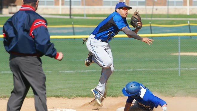 Pennsville second baseman Josh Shimp fires to first base to complete a double play in Thursday's win over Williamstown.