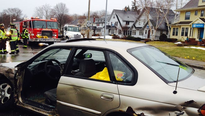 One woman was injured in a car crash Friday afternoon in Brighton.