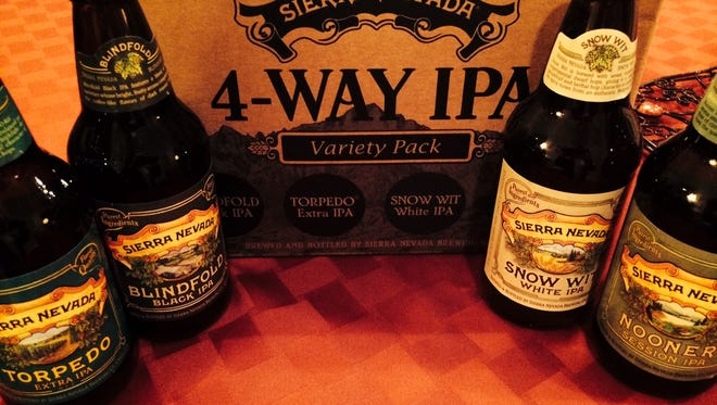 The Sierra Nevada 4-Way IPA variety pack collects three bottles each of four beers --the popular Torpedo Extra IPA,  the Blindfold Black IPA. the Snow Wit White IPA and Nooner Session IPA.
