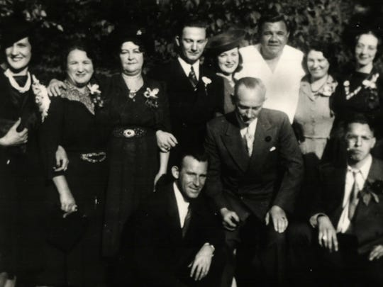 Babe Ruth, back row, at the September 26, 1941, wedding of Frederick H. and Agnes Viohl on Greenwood Lake.