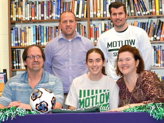 Smyrna soccer standout Emily Bryant recently signed to continue her career at Motlow State Community College. Pictured in the front row (l-r) are Andrew Bryant (father), Emily Bryant and Louise Bryant (mother). In the back row (l-r) are Smyrna coach Brian Grogan and Motlow State coach Andy Lyon.