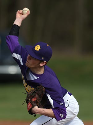 Hagerstown's Trey Kelley pitches to Richmond during the baseball season opener Wednesday, March 29, 2017 in Hagerstown.